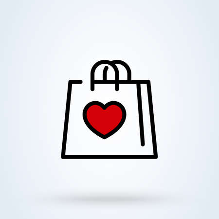 i love shopping with bag like heart line sign icon   shopping bag concept. Shopping bag with heart linear app vector illustration. 일러스트