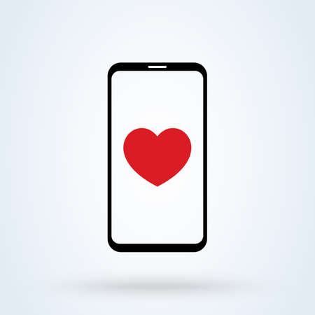 Sending love message sign icon  Phone and notifications concept. smartphone heart app vector illustration.