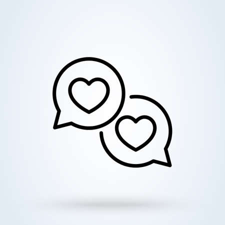 Love message line sign icon speech bubble concept. good feedback linear app vector illustration. 일러스트
