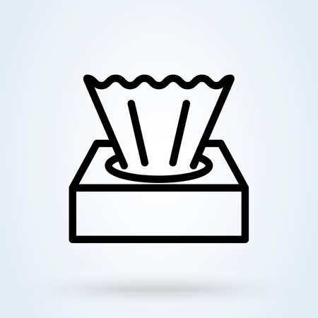 tissue box line sign icon   Wet wipes concept. Hygiene tissue linear app vector illustration.
