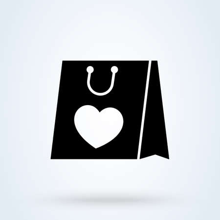 i love shopping with bag like heart sign icon shopping bag concept. Shopping bag with heart app vector illustration.