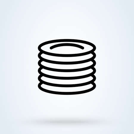 Plates line sign icon Plate of food concept. Restaurant plates linear app vector illustration. 일러스트