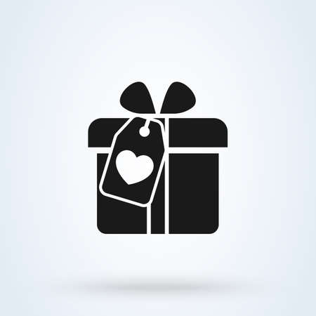 Valentines hearts with gift box sign icon  gift box concept. suitable for advertising and promotion app vector illustration. 일러스트
