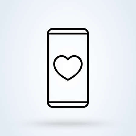 Sending love message line sign icon   Phone and notifications concept. smartphone heart linear app vector illustration. 일러스트