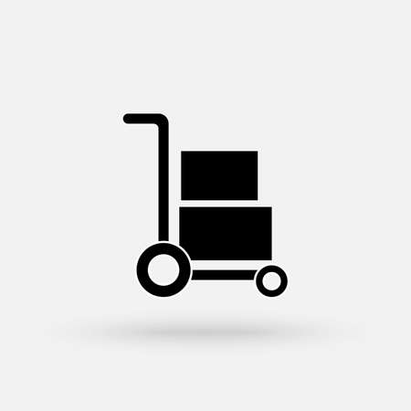 Hand truck with cardboard boxes glyph icon, logistic and delivery, hand dolly sign vector graphics, a solid pattern on a white background. Simple modern icon design illustration.