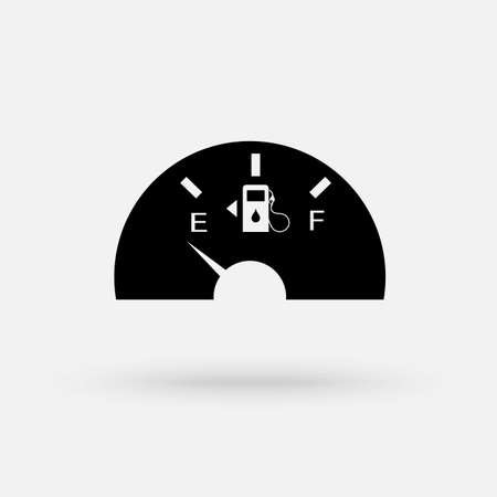Fuel indicators gas meter. Gauge vector tank full icon. Car dial petrol gasoline dashboard. Simple modern icon design illustration.