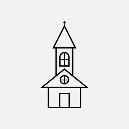 Church flat of black color. Line Vector Church with cross icon on white background