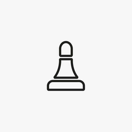 Chess bishop figure. Line icon illustration.