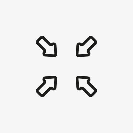 Minimized display screen vector icon. Line Compress symbol. 일러스트