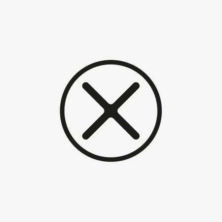 Cross button icon. Cancel, close page button for web and mobile UI design.