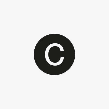 Copyright icon vector, C letter label for UI design button. Intellectual property protection symbol for websites and mobile apps design.
