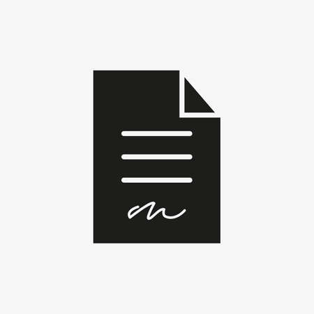 Signed document icon. Business contract signature symbol for web and mobile application UI design.