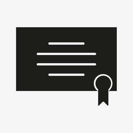 Certificate icon. Graduation diploma symbol, achievement certificate for college or educational concept application UI design. 일러스트