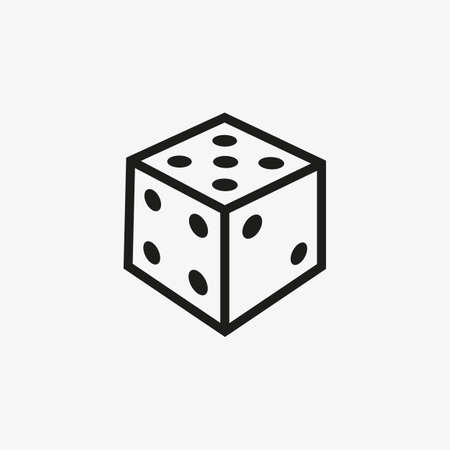 Dice cube 3D icon for mobile and web games UI line design, gambling, chance games concept.