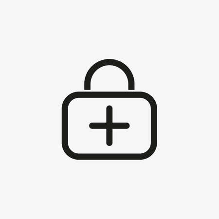First aid kit icon for healthcare application UI Line design. Emergency care bag, medical suitcase symbol. 일러스트