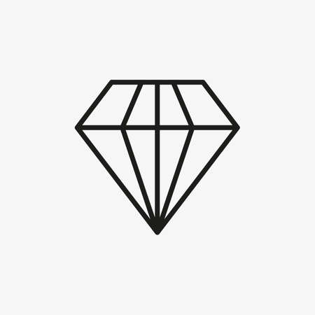 Diamond icon for luxury, royal line concept design. Usage for premium sign in apps and games UI.