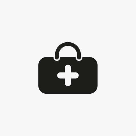 First aid kit icon for healthcare application UI design. Emergency care bag, medical suitcase symbol. 일러스트
