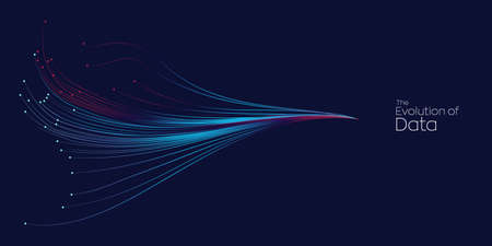 Evolution of data. Vector explosion motion dot lines background. Small particles strive out of center. vector illustration use for quantum technology, digital, science, music, communication.