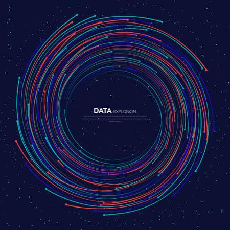 Evolution of data. Vector explosion colorful dot lines background. Data transfer, Social network, Internet databases. vector illustration use for quantum technology, digital, science, communication.