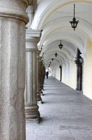 columns: City hall museum santiago antigua guatemala arches and columns.