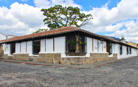 spanish house: A colonial house in the city of Antigua Guatemala Stock Photo