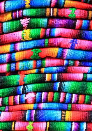 guatemala: Blankets for sale in the popular Chichicastengango market in Guatemala