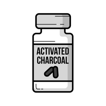 Activated Charcoal jar vintage vector icon outline