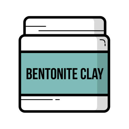 Bentonite Clay jar vintage vector icon outline