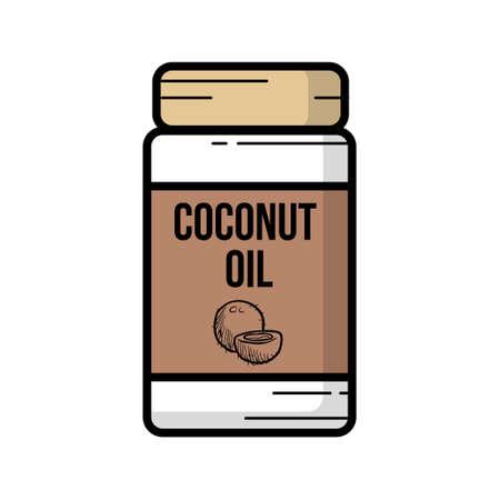 Outline illustration of a jar coconut oil
