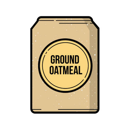 Ground oatmeal bag vintage vector icon