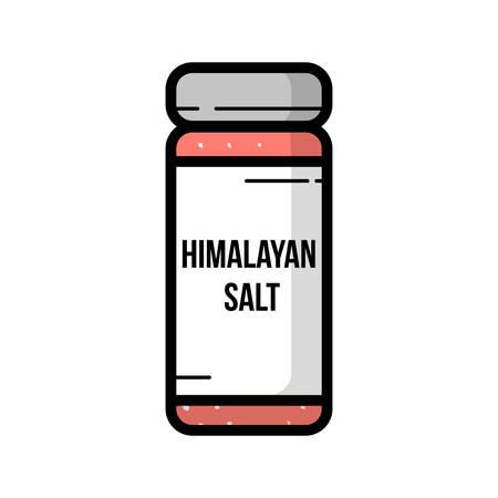 Transparent glass jar of himalayan salt Illustration
