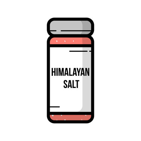 Transparent glass jar of himalayan salt Ilustracja