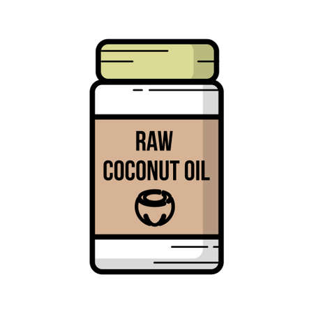 Coconut oil icon. Hand-drawn icon of coconut oil