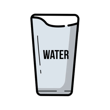 Vintage vector illustration glass of water