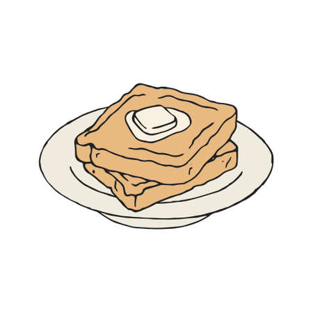 Vintage toast bread slice with butter. Vector illustration.
