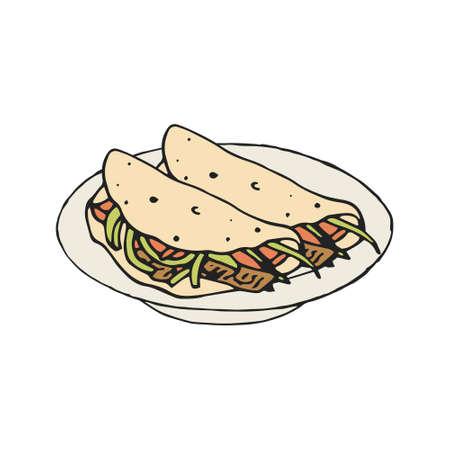 Mexican food fajita or burrito vector illustration. Illustration
