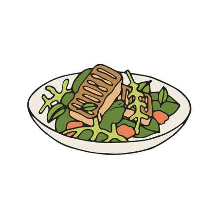 Vector illustratioon of Grilled Halloumi salad