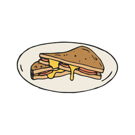 Cheese and ham sandwich vector