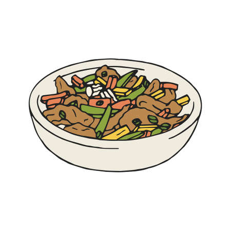 Vintage illustration of stir fry chicken, sweet peppers and green beans. Isolated on white background.