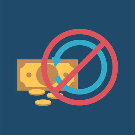 Refund flat icon illustration on blue background.