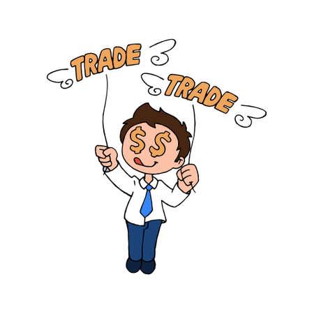 Happy Trader man vector illustration Illustration