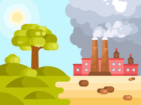 Flat illustration of human impact on climate change