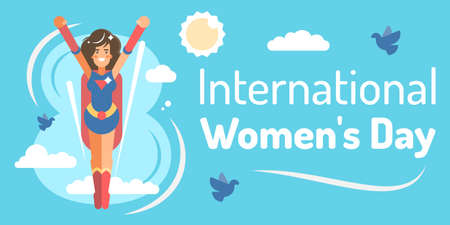 International womens day banner with woman on blue background. Vector illustration.