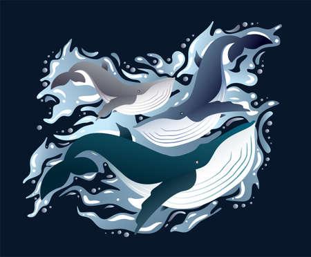 Whales family sleek illustration set