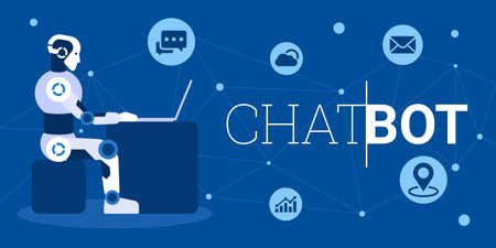 Chat bot using laptop computer infographic