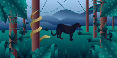 Amazonia forest with panther and python. Illustration