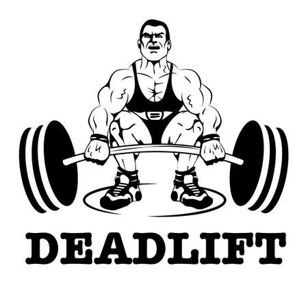 Deadlift icon of man with barbell label