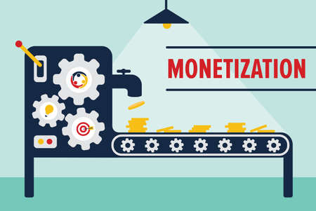 Money machine monetization concept vector illustration