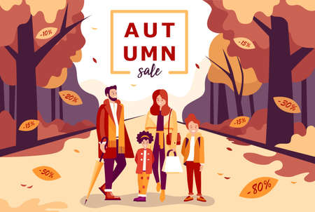 Shopping happy family dad mom girl boy. Shopping happy family dad mom girl boy. Autumn sale. Man, woman, and children. People in winter-autumn clothes Stock Illustratie