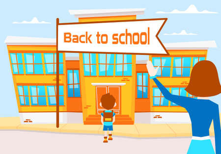 Women seeing the child off to school. Vector illustration of school boy going to school in the morning. Illustration